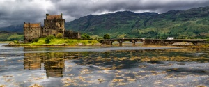 Panoramic of Eilean Donan Castle, Highlands, Scotland.  We saw this beautiful castle among others on our travels.